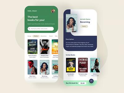 Book Store App shop light home layout design movie store books book mobile app
