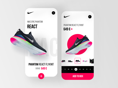 Nike App shop store box react sport nike light ui layout design