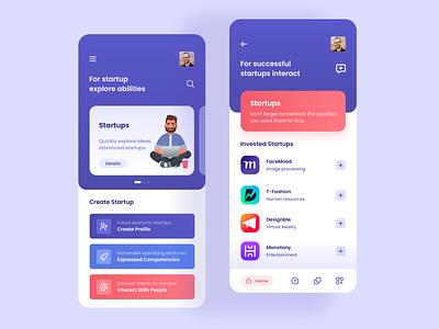 Startup App illustration ui home design aplication app design app mobile people startups startup