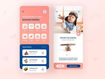 Children Shop App mobile ui home design shopping app app shop children