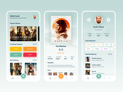 Movie App light ui layout home design films film movie app app movies movie