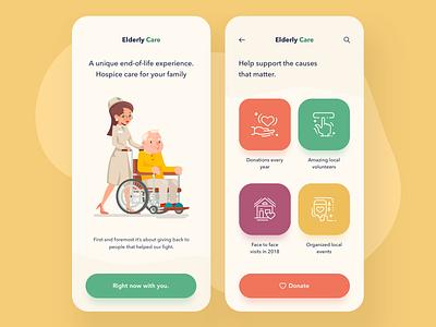 Elderly Care illustration art causes application app mobile nature light layout home design elderly nurse care