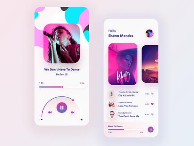 Music App application app design art ui light layout home design music player music app music