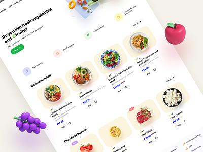 Friendly Food Shop branding 3d products basket market card food magazine store shop