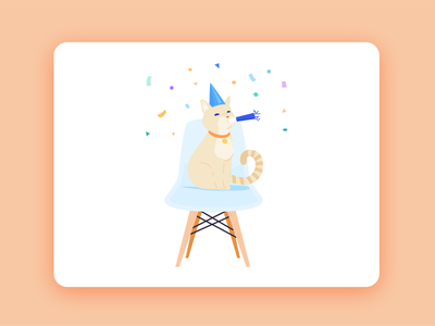 You did it!! chair illustration kitty yay celebration noise maker party hat confetti party cat