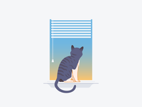 Looking Out kitty illustration sunrise sunset blinds window empty state windowsil cat