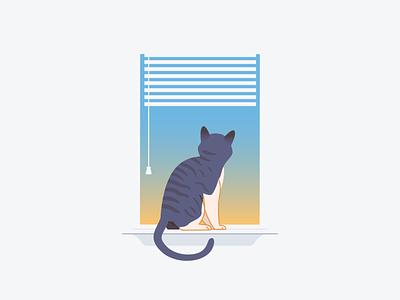 Looking Out kitty illustration sunrise sunset blinds window empty state windowsil cat