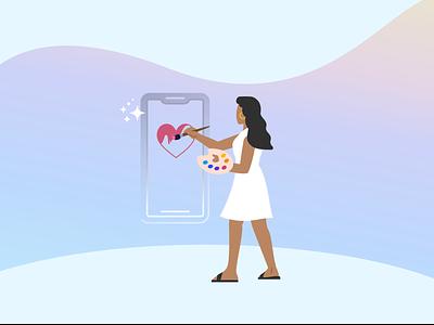 We Make Beautiful Experiences beauty love illustration design phone experience paint artist