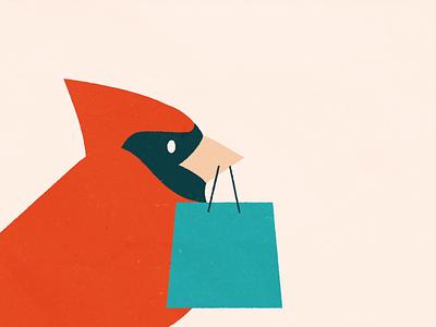 Holiday Shopper: Early Bird shopper shopping holiday cardinal bird animation 2d illustration animation