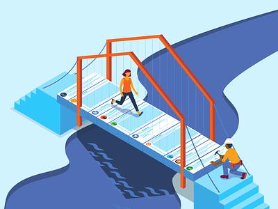 Social Media Bridge bridge river figure people construction worker isometric fix illustration timeline twitter social media