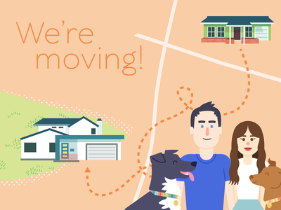 Moving Announcement houses map illustration pets dogs family house moving