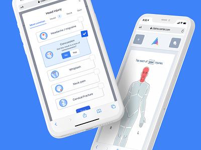 Injury IQ mobile ui clean healthcare health insurance ui design ux ui body injury