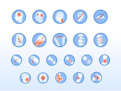 Injury IQ Icon Set healthcare fracture muscle spine eye ear concussion injury health ui illustration