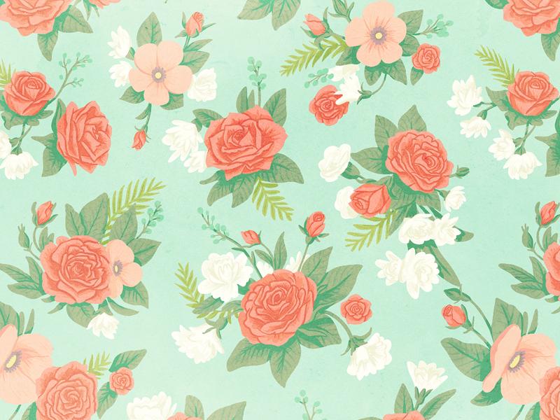 Flower Pattern spring floral pattern roses flowers