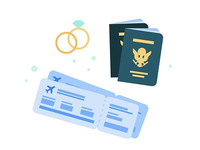 Honeymoon honeymoon plane ticket rings passport