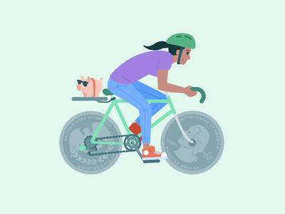 Financial Fitness healthy financial money currency quarters biking bike