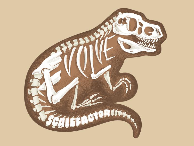 Evolve Or Die illustration tyrannosaurus rex dinosaur skull lettering type skeleton bones trex dino