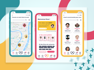 Nativing coaching & language App material blue pink yellow branding share ui profile map culture discover learning app travel language learning language design app design app
