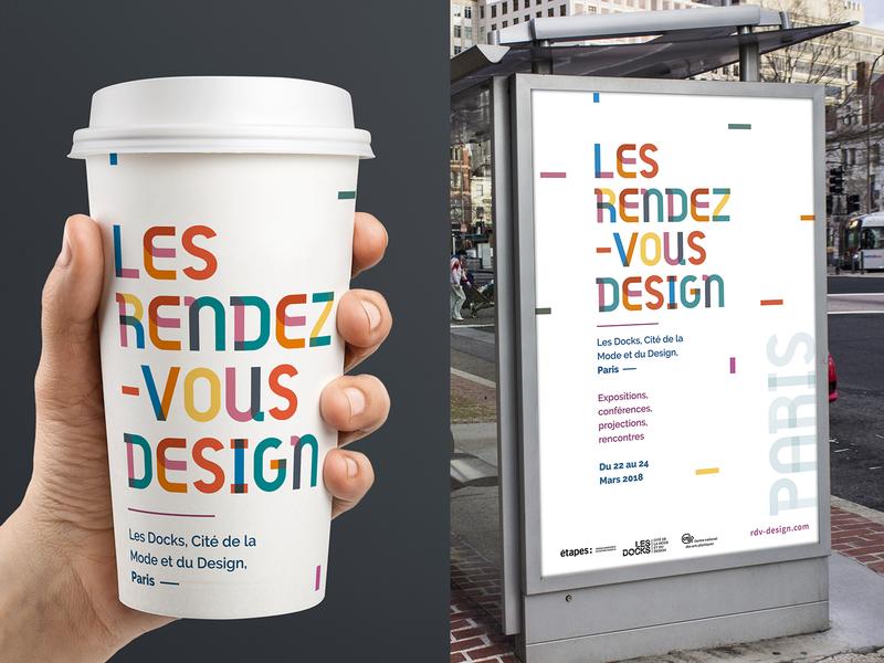 Les RDV Design festival Branding color bars color typography design art design city branding poster logo festival print