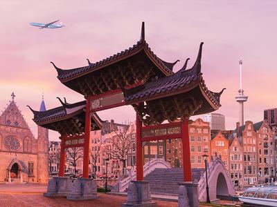 KLM - Chinatown in the Netherlands amsterdam rotterdam the hague netherlands airplane landmarks chinatown chinese market photoshop retouching airlines klm