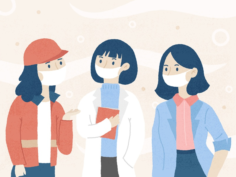 Women's Day containment equality mask coronavirus illustration womens day women empowerment women
