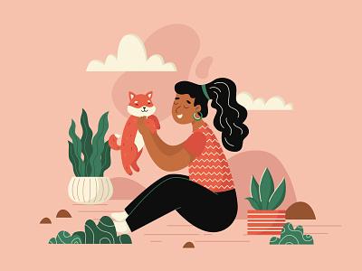 LOVE dog flat illustration motiongraphics pink plants animation after effect illustration shiba inu shiba