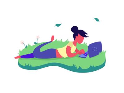 Carbon footprint & Digital enviroment green laptop girl digital ecology illustration