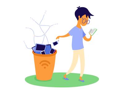 My life without Facebook trash can book facebook digital boy illustration
