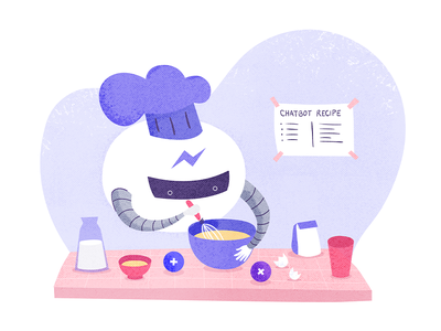 Chatbot recipe textures itsalive illustration soft colors cooking recipe chatbot
