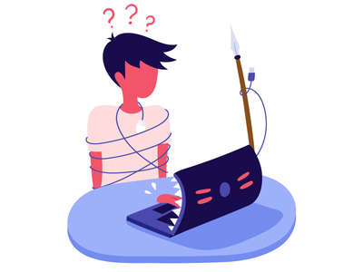 Digital incompetence monster boy laptop character digital illustration