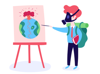 Techie Survivalists boy data end of the world digital survivalist illustration
