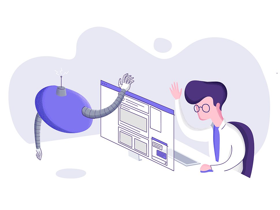 Customer & Chatbot customer care character bot digital itsalive chatbot illustration