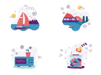 Economic forecasts illustrations business financial flat texture finance money economy illustration