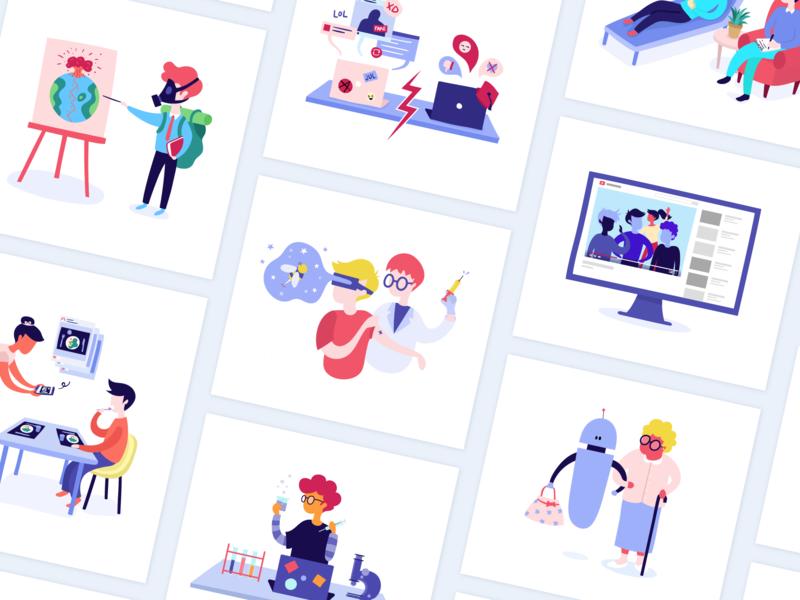 Illustrations Mes Datas et Moi character colors illustrator flat datas vector illustration