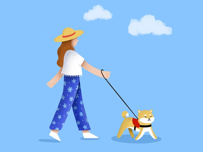 Walk with my shiba brush illustration shiba inu walking dog hat blue girl procreate