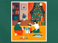Christmas spirit present design illustration christmas tree gifts family christmas
