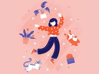 Plants, cats & corgi brush corgi pink dog cat girl procreate illustration