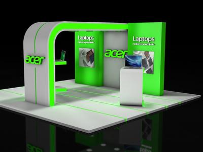 Acer Exhibition Stand lsnto sketch green 3d designer designs laptops acer exhibition stand 3d artist 3d art lowpoly flat design colors cinema4d c4d branding advertising