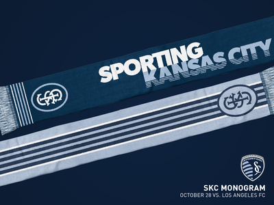 SKC Monogram Scarf illustration sports scarf sporting kc mls kansas city soccer