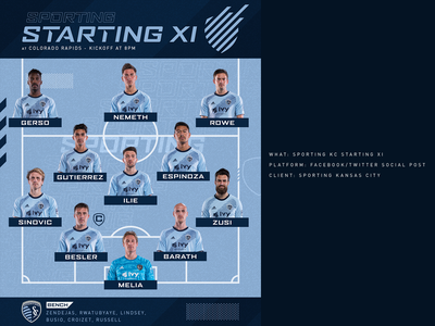 Sporting KC Starting XI - Social Graphic starting xi social mls sporting kc sports kansas city soccer
