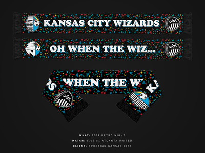 2019 Retro Night Scarf - Sporting KC wizards retro night retro mls scarf sporting kc sports kansas city soccer