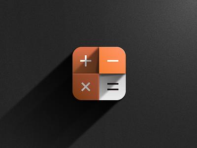 Calculator Icon shadow real simple design numbers calculate icon ios calculator calc illustrator vector