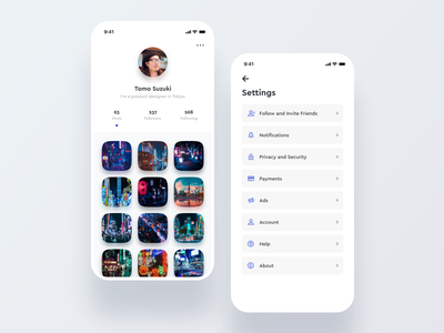Daily UI Challenge #007 Settings profile sns picture photo minimal cool clean iphone ios mobile instagram app white dailyui list blue ui simple settings daily ui