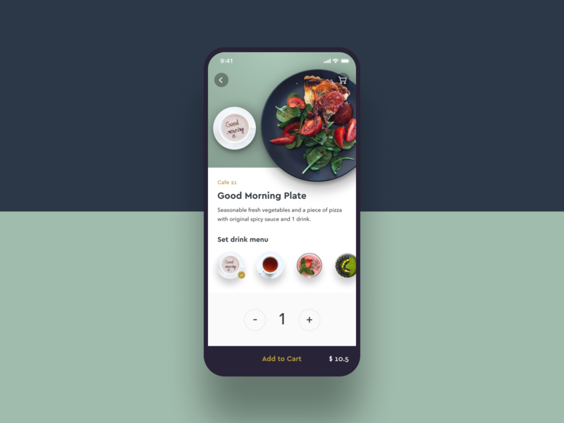 Daily UI Challenge #012 E-Commerce Shop simple menu drink green shopping restaurant cafe logo iphone food cart e commerce cafe ios mobile food delivery app daily ui