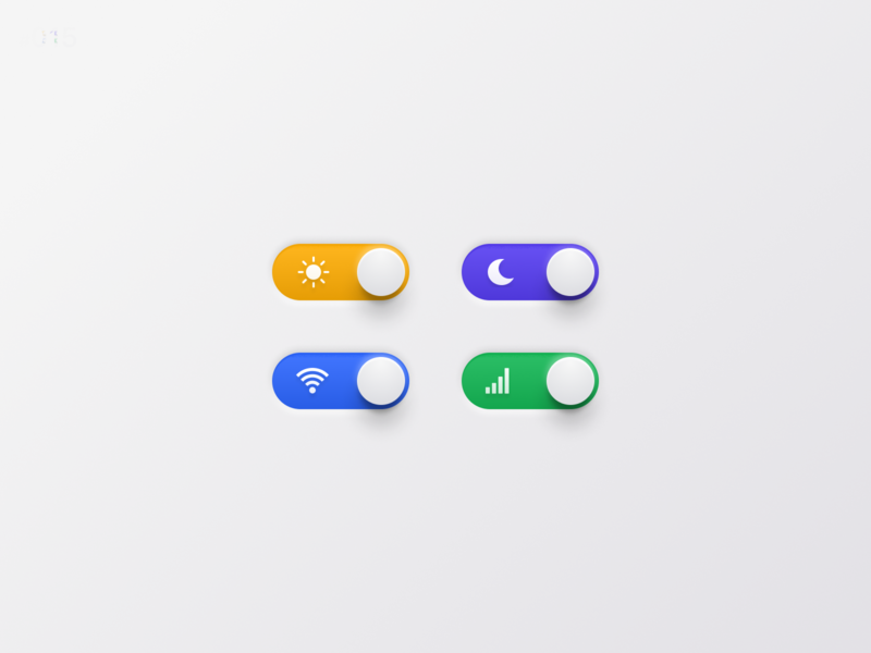 Daily UI Challenge #015 On Off Switch settings control night white color icon soft rich clean texture real app skeuomorphic green blue purple yellow switch toggle daily ui