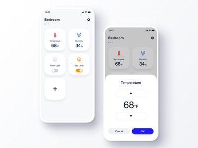 Daily UI Challenge #021 Home Monitoring Dashboard desk modal stepper cool bright humidity light settings temperature simple home monitoring dashboard iot blue white iphone clean app ios ui daily ui