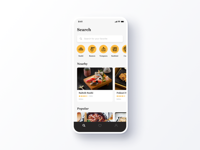 Daily UI Challenge #022 Search simple clean restaurant food white black yellow discover category keywords search iphone ios mobile app daily ui