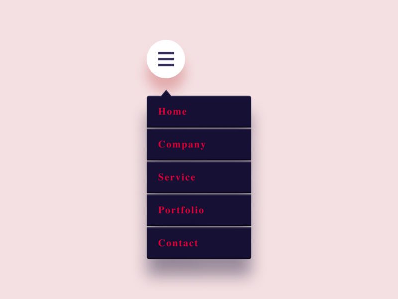 Daily UI Challenge #027 Dropdown web cool clean dark light color black white pink menu hamburger simple dropdown dailyui