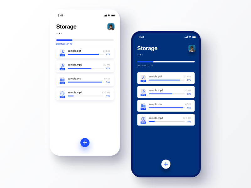 Daily UI Challenge #031 File Upload design data progress cloud simple cool clean blue and white blue icon dropbox storage file upload iphone mobile app ios daily ui