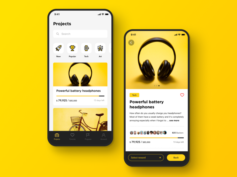 Daily UI Challenge #032 Crowdfunding Campaign fundraise headphone ecommerce icon design simple cool clean black yellow product back reward crowdfunding campaign crowdfunding iphone ios mobile app daily ui